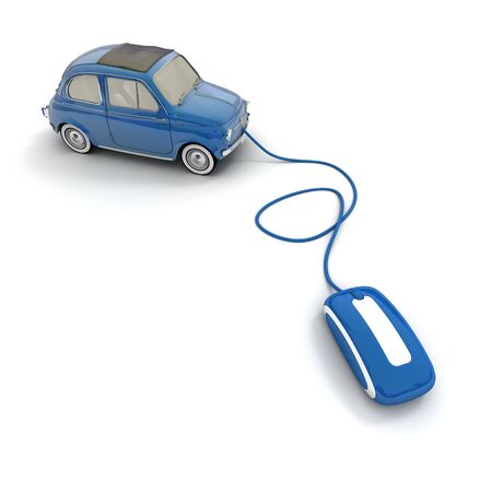 Blue vintage car connected to a computer mouse  photo