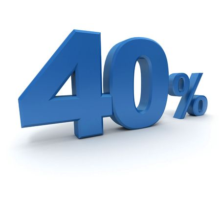 per cent: 3D rendering of a 40 per cent in blue letters on a white background Stock Photo