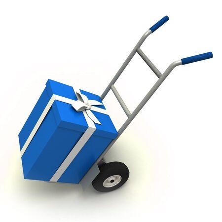 ���push cart���: Big blue gift box in a push cart Stock Photo