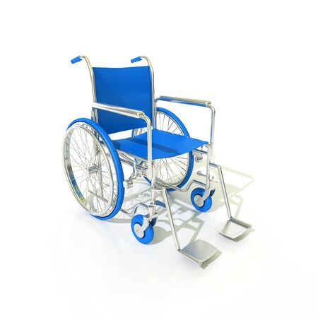 impairment: 3D rendering of a blue and chrome wheelchair on a white background