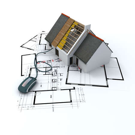 3D rendering of a residential architecture model on top of blueprints connected to a computer mouse photo
