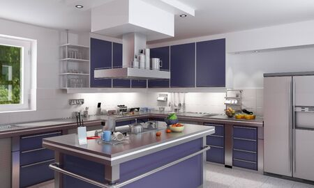 3D rendering of a modern spacious kitchen in blue and chrome photo