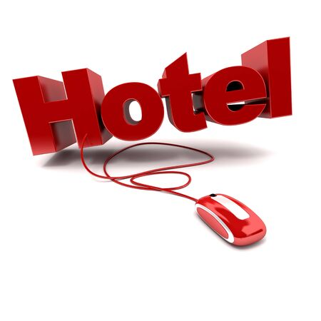 booking: 3D rendering of the word hotel connected to a computer mouse