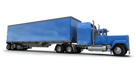 tarpaulin: Lateral view of a big blue trailer truck against white background