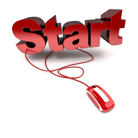 activate: 3D rendering of the word start in red connected to a computer mouse