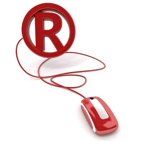 registered: 3D rendering of the registered mark symbol connected to a computer mouse