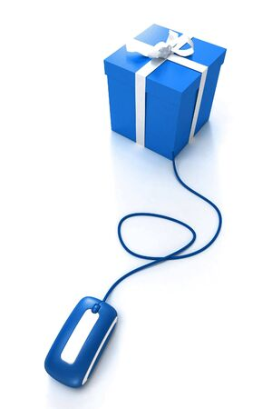 Blue Gift box connected to a mouse Stock Photo - 6029278