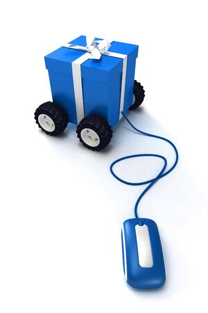 Motorized gift box connected to a mouse photo