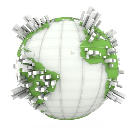 overcrowded:  3D rendering of a world map in white and green with towers coming out of the continents  Stock Photo