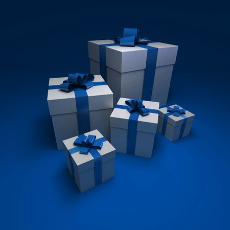 medium size: 3D rendering of a group of white presents with blue ribbons against a bluebackground
