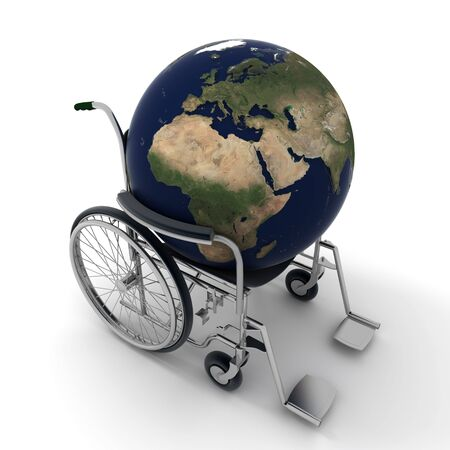 impairment:  3D rendering of the Earth on a wheelchair