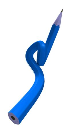 writing instrument: Blue pencil bent into an impossible shape