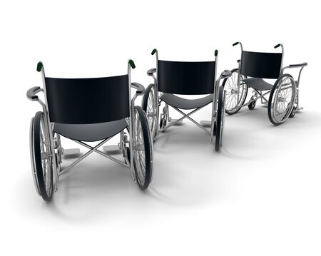 3D rendering of three black wheelchairs on a white background  Stock Photo - 6088713
