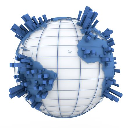 overcrowded:  3D rendering of a world map in white and blue with towers coming out of the continents  Stock Photo