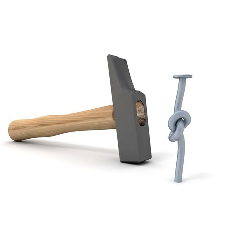 knotted: 3D rendering of a hammer with a knotted nail on a white background