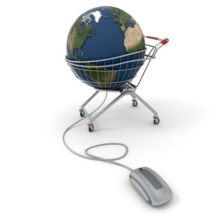 acquire: 3D rendering of a world globe on a supermarket trolley connected to a computer mouse