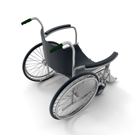 3D rendering of a black and chrome wheelchair on a white background  Stock Photo - 6182731