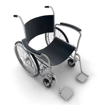 3D rendering of a black and chrome wheelchair on a white background  Stock Photo - 6190727
