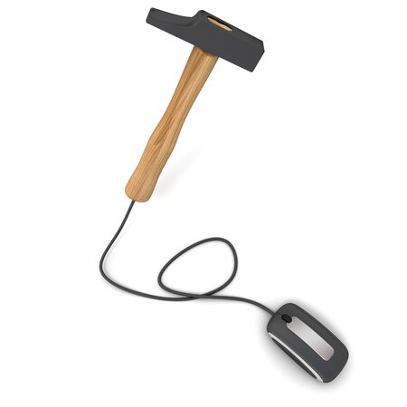 hammer head: 3D rendering of a hammer connected to a computer mouse