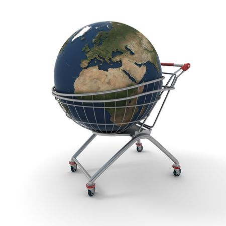 acquire: 3D rendering of a world globe on a supermarket trolley