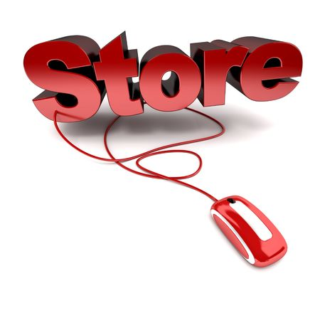 web store: Red and white 3D illustration of the word store connected to a computer mouse Stock Photo