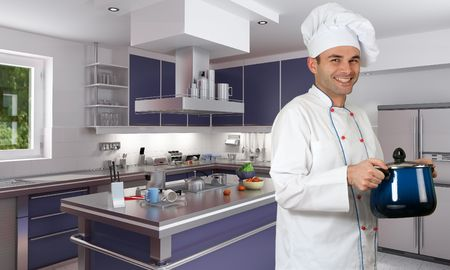 chef 3d:  Smiling chef in a modern red kitchen