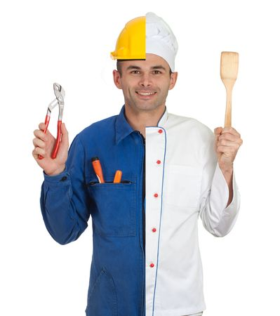 half dressed:  Isolated image on a man dressed half in mechanic half in chef cook