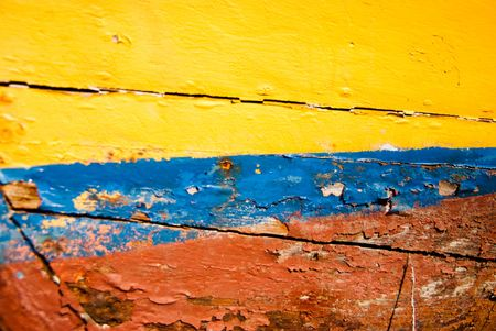 weather beaten: Meteo Old legno battuto dipinte in giallo blu e rosso