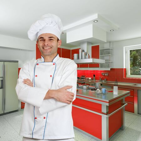 countertop:  Smiling chef in a modern kitchen holding a casserole
