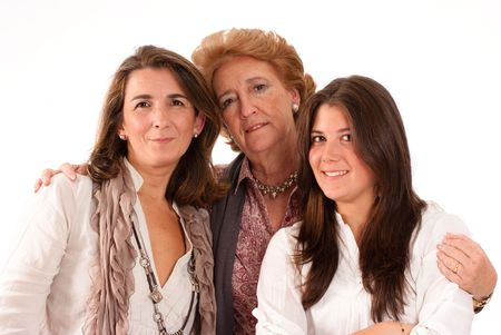 Portrait of Three generations of women of the same family isolated in white  Stock Photo - 6252631