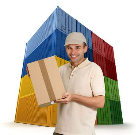 Pictures of a messenger with a wall of colourful cargo containers in the background  photo