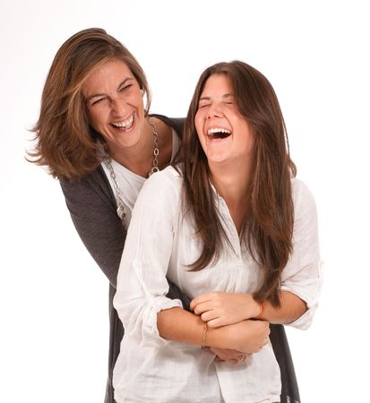 Isolated image of a mother and daughter in laughing together Stock Photo - 6332516