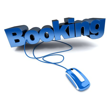 lodging: blue and white 3D illustration of the word booking connected to a computer mouse Stock Photo
