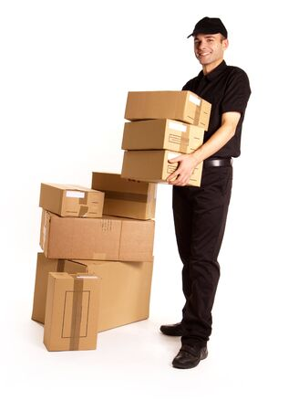 good service:  Isolated image of a messenger delivering a lot of boxes