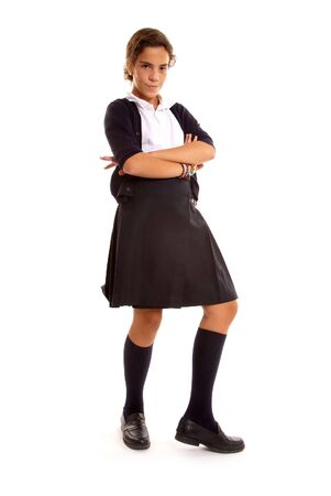 annoyed girl: Angry school girl in dressed in uniform