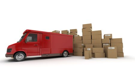 3D rendering of a red van and piles of cardboard boxes (I made up the information on the labels so no copyright issue)