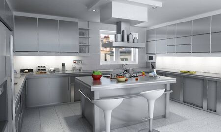 3D rendering of a modern industrial kitchen with island