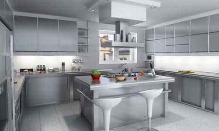 cocinas industriales:  Representaci�n 3D de una cocina industrial moderna con isla