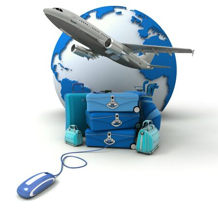 The Earth, a plane taking off, a pile of luggage including suitcases, briefcases, golf bag, connected to a computer mouse in blue shades  photo