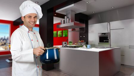Smiling chef in a modern red and black kitchen  photo