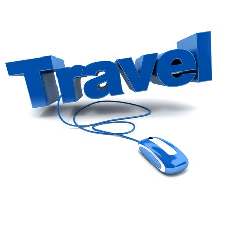 booking: blue and white 3D illustration of the word travel connected to a computer mouse