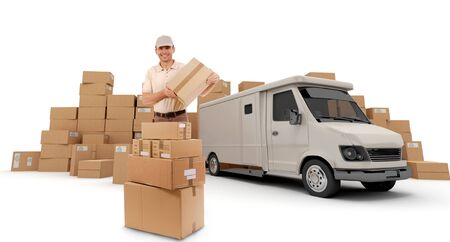 delivery man:  Messenger with a parcel in his hands with a van and piles of packages in the background (I made up the information on the labels so no copyright issue)