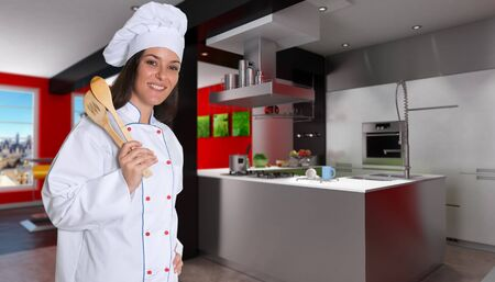countertop:  Smiling female chef in a modern red and black kitchen
