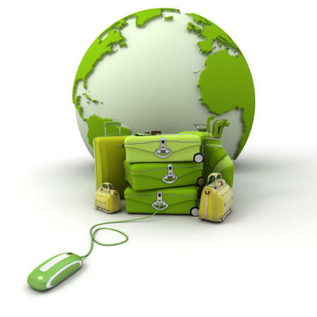 going green:  The Earth, a pile of luggage including suitcases, briefcases, golf bag, connected to a computer mouse in green and yellow shades  Stock Photo