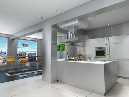 kitchen tools: 3D-weergave van een indrukwekkende keuken met een adembenemend uitzicht over stedelijke  Stockfoto