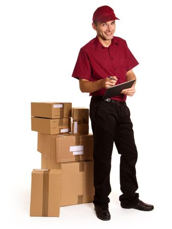 package shipment:  Isolated image of a messenger with clipboard and ball pen surrounded by packages