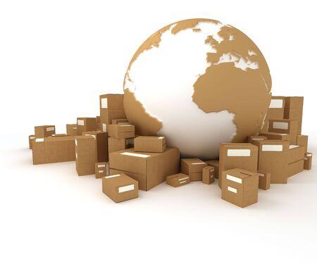 pappkarton:  Globussymbol in wei� und Karton Textur, umgeben von Paketen