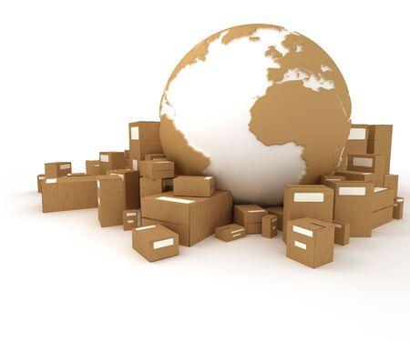 delivery room:  World globe in white and cardboard texture, surrounded by packages   Stock Photo