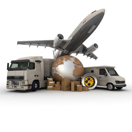 corriere: Un messaggero con una mappa del mondo, un furgone, un camion e un aereo come sfondo  Archivio Fotografico