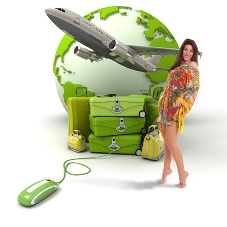 takeoff:  Composition with a girl in summer attire, a pile of luggage, a plane taking off and the world map, connected to a computer mouse